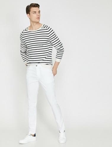 Koton Cep Detaylı Pantolon Beyaz